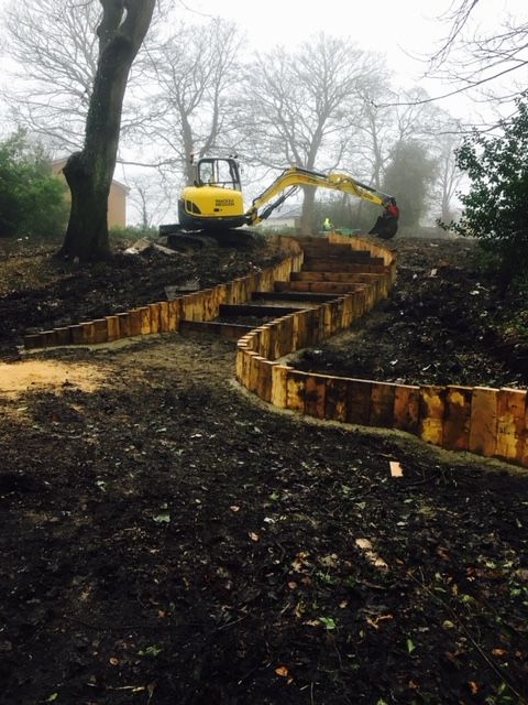 Construction of water feature and path