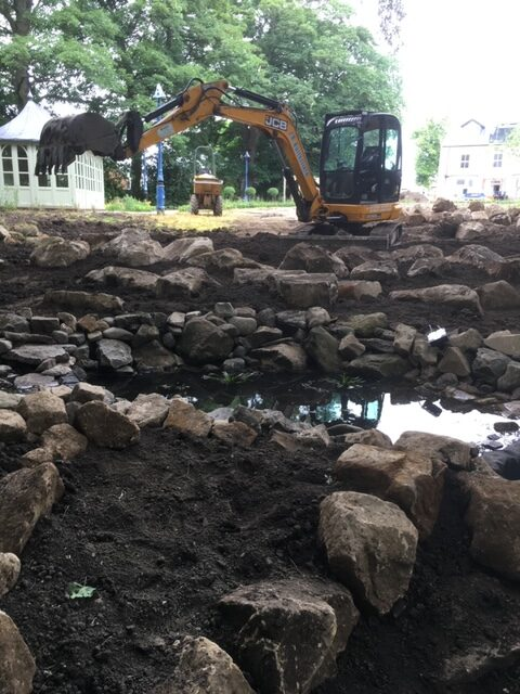 Construction of the water feature - heavy machinery