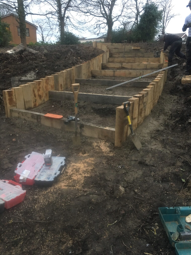 Construction of a water feature - wooden framing