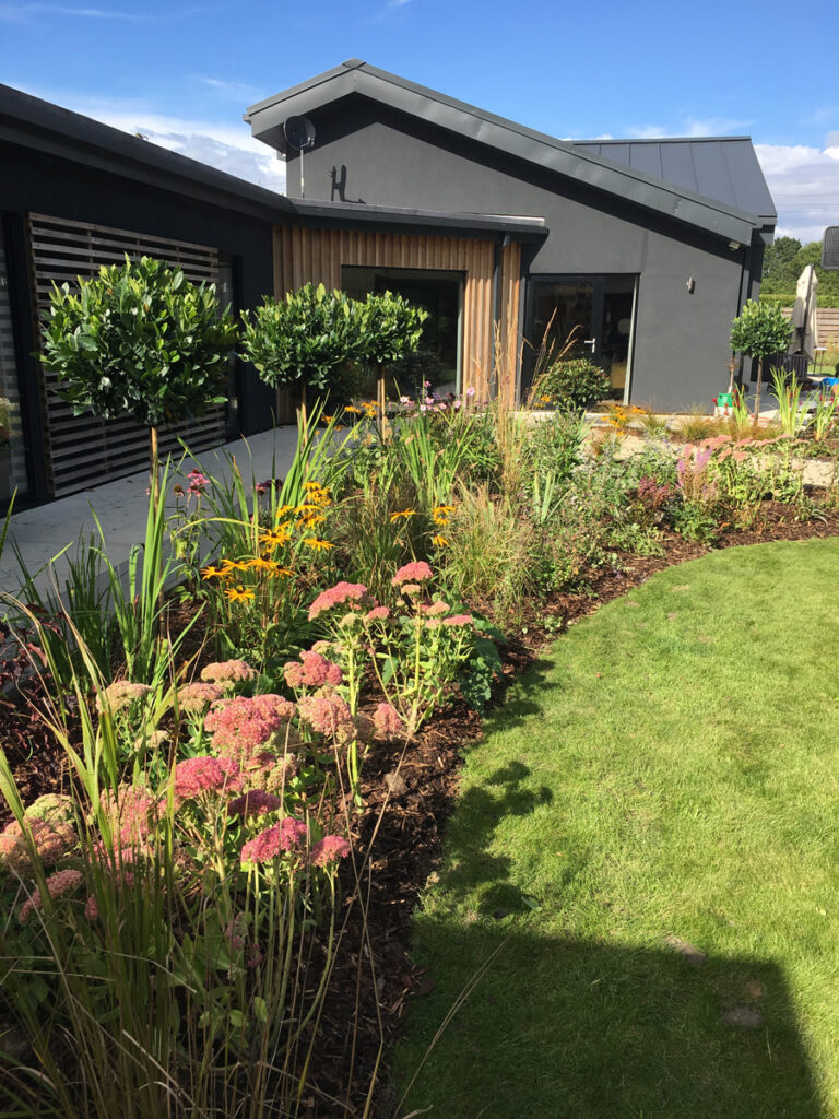 Curved flower bed alongside a lawn