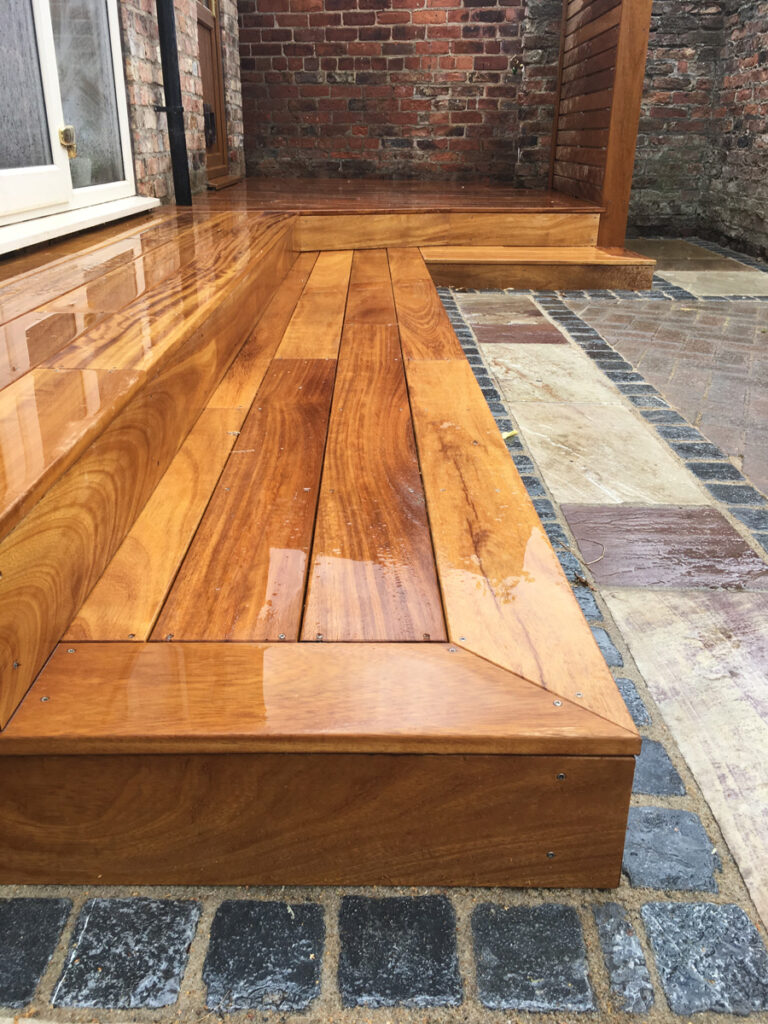 Wooden Decking and decorative paving