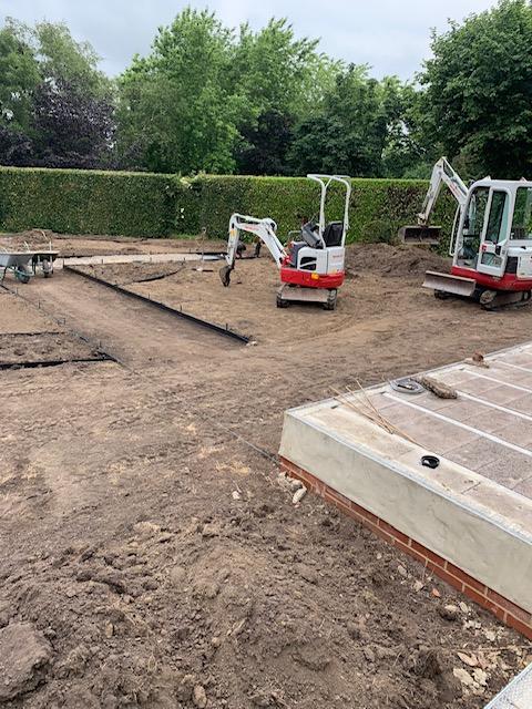 Garden construction - levelling the soil