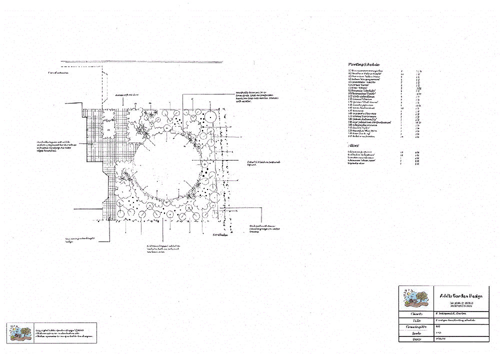 Black and white horticultural layout